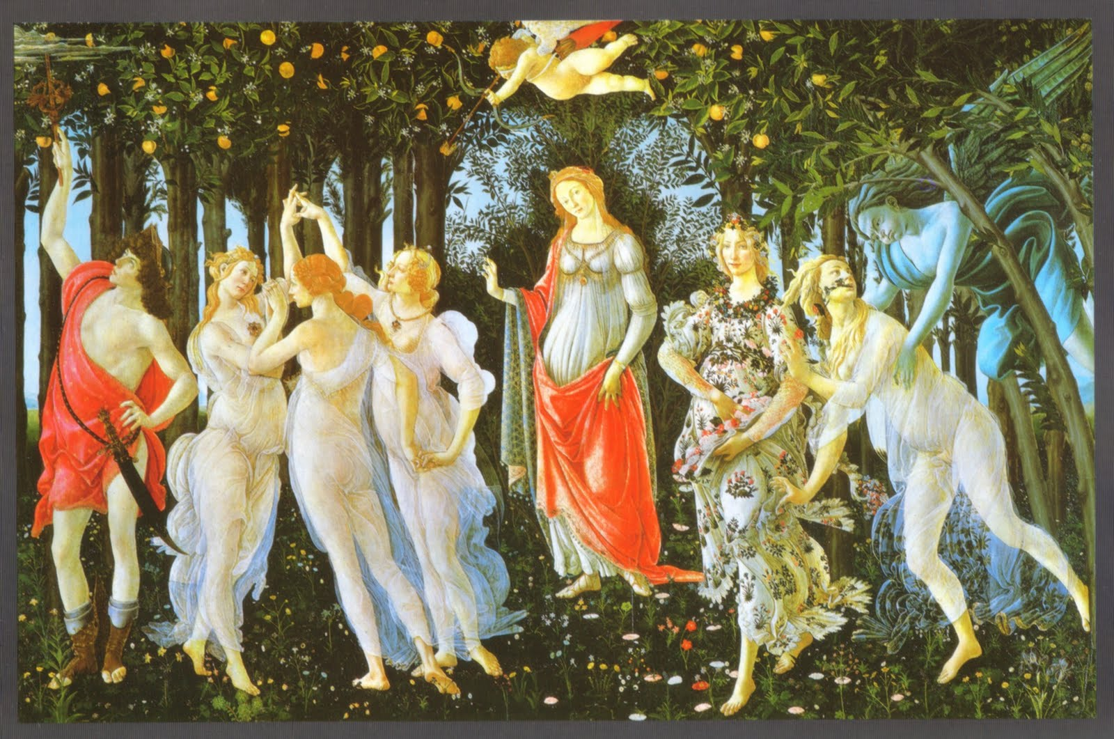an analysis of the painting primavera by sandro botticelli Born to a poor tanner in the backstreets of florence, alessandro filipepi was brought up by his brother who  this much-analyzed painting shows venus, ancient goddess of beauty and fertility, celebrating the arrival of spring, la primavera.
