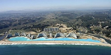 An aerial view of the swimming pool at the resort of San Alfonso del Mar in Algarrobo city on the southern coast of Chile