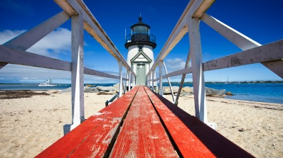 Nantucket, Massachusetts, USA --- Brant Point Lighthouse --- Image by © Jon Hicks/Corbis